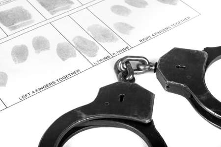 Handcuff and fingerprint photo