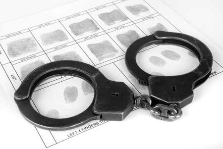 evidence bag: Handcuff and fingerprint Stock Photo