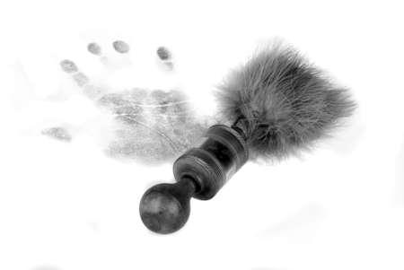 Handprint and brush photo