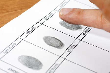 derecho penal: Una huella dactilar en una hoja blanca de papel