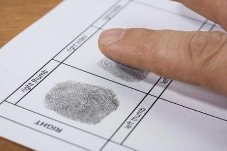 A fingerprint on a white sheet of paper photo