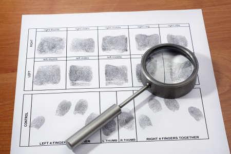 Magifying glass inspecting a fingerprint  photo
