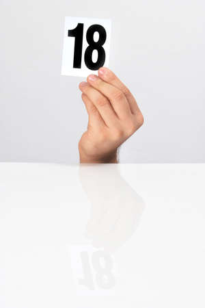 number of points in the hands of the evaluation Stock Photo - 15766311