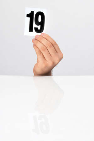 number of points in the hands of the evaluation Stock Photo - 15766313