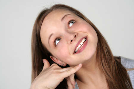 Young beautiful girl showing the call sign Stock Photo - 16118715