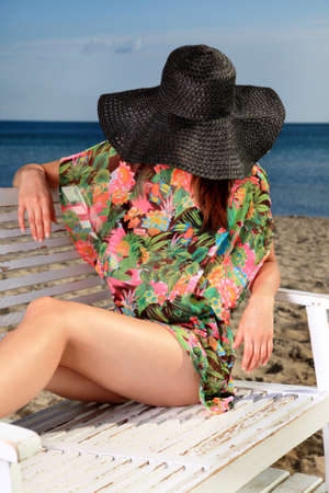 woman resting on the beach Stock Photo - 16378072
