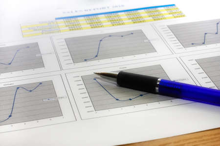 Colorful sales charts with pen  Stock Photo - 17006708