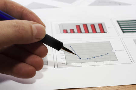 Colorful sales charts with pen  Stock Photo - 17006705