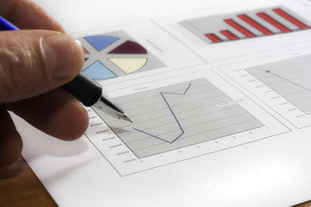 Colorful sales charts with pen Stock Photo - 17006707