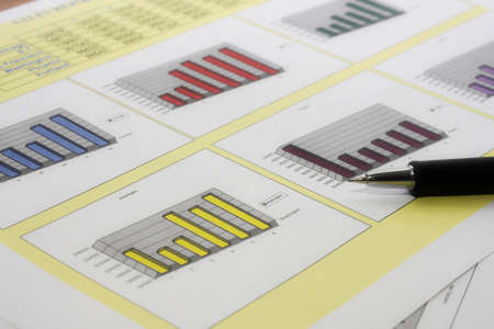 Colorful sales charts with pen Stock Photo - 17006706