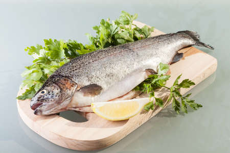 fresh trout prepared for cooking photo