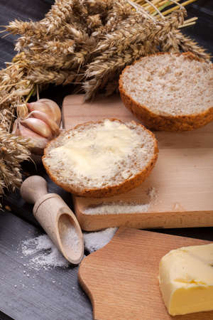 Fresh bread with butter photo