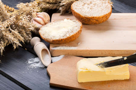 Fresh bread with butter. photo