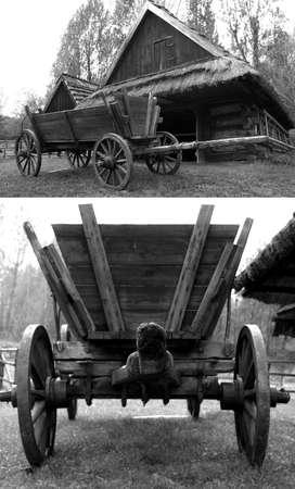 carreta madera: Antiguo carro de madera de moda en el fondo de una casa de campo. Foto de archivo