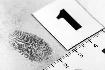 View of a fingerprint revealed by printing. photo