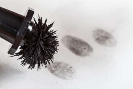 perpetrator: View of a fingerprint revealed by printing.