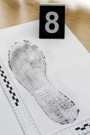 circumstantial: Footprint shoe protector disclosed during the examination. Stock Photo