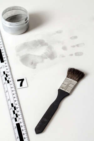 Disclosure of forensic evidence using fingerprint powders. Stock Photo