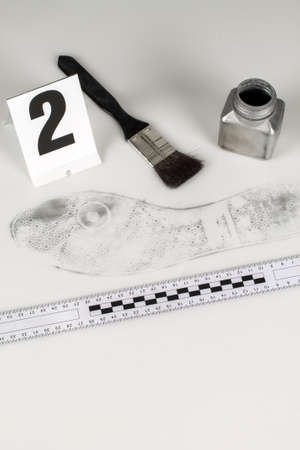 revealing tracks: Revealing and preserving the shoe prints- investigation of the scene  Stock Photo