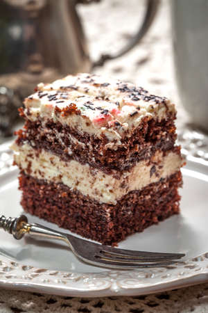 Chocolate cake on a stylish plate. photo