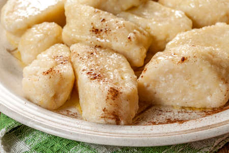 meatless: Lazy dumplings with cinnamon and sugar. Stock Photo