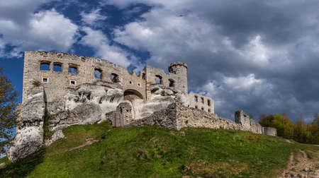 ogrodzieniec: The ruins of a medieval castle Ogrodzieniec. Stock Photo