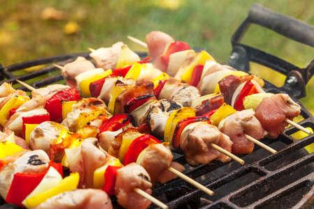 shashlik: Grilling shashlik on barbecue grill.