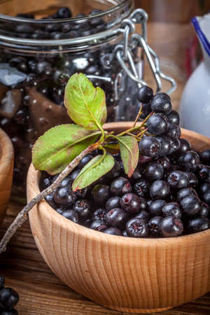 Fruits of black chokeberry prepared for processing. Shallow depth of field. Stock Photo