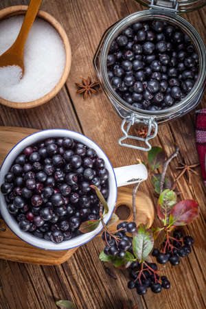 Fruits of black chokeberry prepared for processing. Shallow depth of field. Imagens