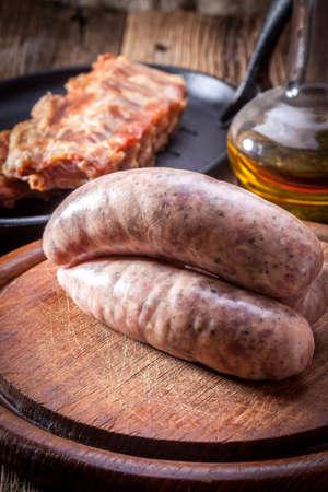 culinary: Raw white sausage - Polish culinary specialty.