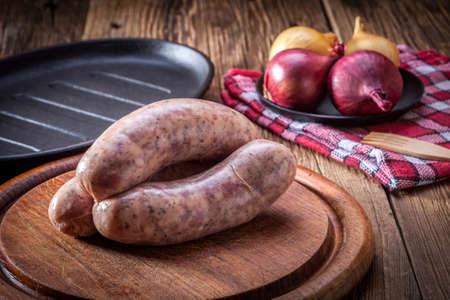 生の白ソーセージ - ポーランド料理専門。 写真素材