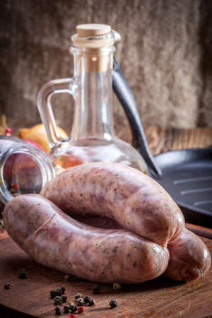 white sausage: Raw white sausage - Polish culinary specialty.