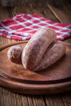 kulinarne: Raw white sausage - Polish culinary specialty.