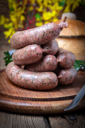 culinary: Raw white sausage - Polish culinary specialty.