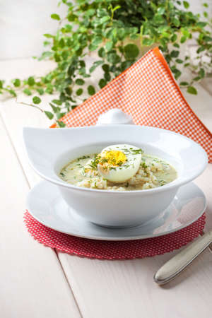 sour grass: Homemade sorrel soup with egg and rice in a bowl. Stock Photo