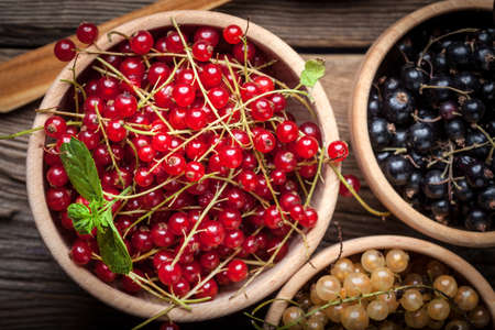 redcurrant: Redcurrant, blackcurrant, white currant fruit in three wooden bowls.