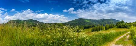 contrastive: Landscape in Bieszczady Mountains. Bieszczady is a part of Carpathian mountains. Poland.