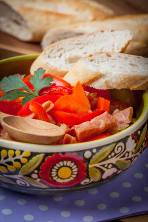 Lecho - tasty Hungarian stew with peppers and sausage.