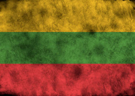 lithuania: lllustration - flag of Lithuania on vintage texture. Stock Photo