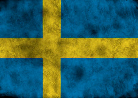 bandera de suecia: lllustration - flag of Sweden on vintage texture.