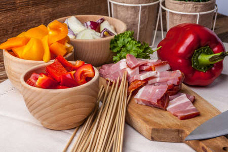 Ingredients for preparation skewers for grilling. Selective focus. Stock Photo