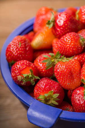 Fresh strawberries from a home garden in a colander.