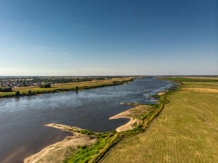 Aerial shot of the Vistula river. River seen from above. Stock Photo