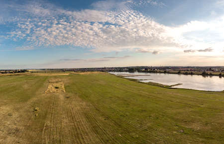 Aerial shot of the Vistula river. River seen from above. Stock Photo - 106851912
