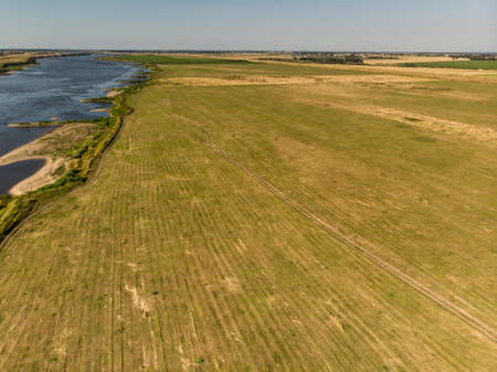 Aerial shot of the Vistula river. River seen from above. Stock Photo - 106851913