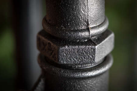 Detail of steel pipes. Detailed picture. Selective focus.