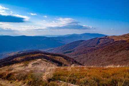 Landscape of autumnal peaks of the Carpathians. Eastern Carpathians, Poland.