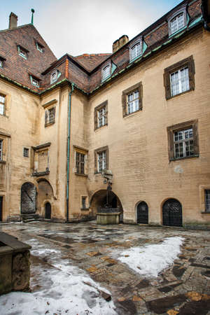 CZOCHA, POLAND, FEBRUARY 22, 2012: Medieval castle built in XII century. Courtyard of the castle of Czocha.