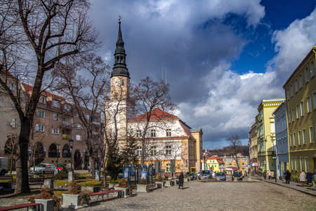 BOLKOW, POLAND, FEBRUARY 26,2012: The market square of the old town with the historic town hall. Editorial