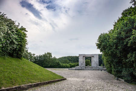 MOUNT ST. ANNA, POLAND - June 27, 2015: Monument (project Xawery Dunikowski) and the amphitheater at Mount St. Anne, Poland.